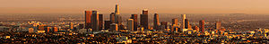 Downtown skyline during sunset as seen from Griffith Observatory, October 2006
