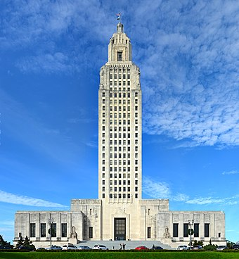 The Louisiana State Capitol in Baton Rouge, the tallest state capitol building in the United States. Louisiana State Capitol Building.jpg