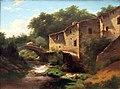 Louwrens Hendoes (1822-1905), Landschap met watermolen en stenen brug, 1854, Olieverf op doek.JPG