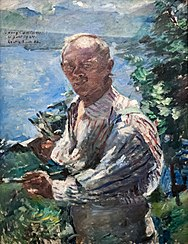Großes Selbstporträt vor dem Walchensee