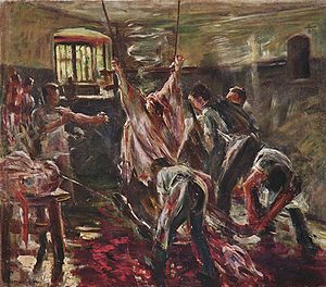 Slaughterhouse - In the slaughterhouse, Lovis Corinth, 1893.