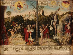 Theology of Martin Luther - A painting by Lucas Cranach on Lutheran teachings, Lutherhaus