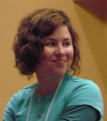 Luci Christian speaking at Anime Evolution 2007