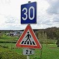 Luxembourg road signs F,18a & A,11a Lenningen.jpg