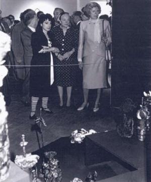 "Lydia Venieri - Madame Pompidou discussing with Lydia Venieri her sculpture installation, ""La Femme Decoupee"" during Carte Blanche at the Georges Pompidou Center, 1987"