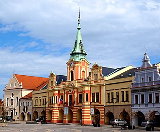 Mělník - Peace Square with town hall and Capuchin church