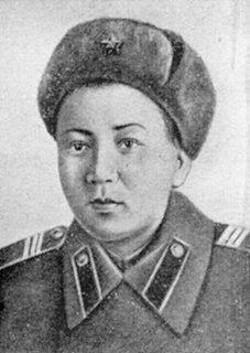 Soviet Kazakh machine gunner and Heroine of the Soviet Union