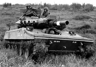 M551 Sheridan - An M551 Sheridan and crew of the 3rd Squadron, 4th Cavalry in Vietnam (Note the add-on belly armor)