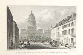 George Street, Edinburgh - The west end of George Street, looking towards Charlotte Square and St George's Church, c. 1829