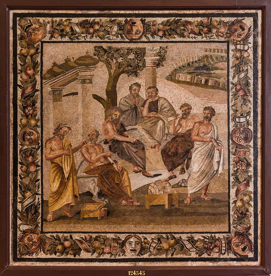 """Imagen del mosaico romano del siglo I: """"Platón conversando con sus discípulos""""; conservado en el Museo Arqueológico Nacional de Nápoles."""