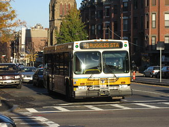 43 (MBTA bus) - MBTA bus on route 43 heading towards Ruggles station.