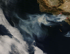 2008 California wildfires - Smoke and highlighted burn areas imaged on November 16 by the Terra Earth observation satellite.