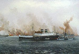 British and Irish Steam Packet Company - Innisfallen sunk by a mine in River Mersey, 21 December 1940, shown here as passengers escape on lifeboats, all passengers survived, four crew died Oil by Kenneth King, Maritime Institute of Ireland