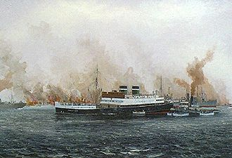 Innisfallen - Innisfallen sunk by a mine in the River Mersey, 21 December 1940, shown here as passengers escape on lifeboats. (Oil by Kenneth King, Maritime Institute of Ireland).