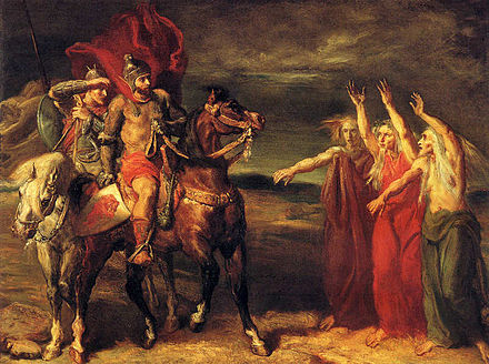 Macbeth and Banquo Meeting the Witches on the Heath, 1855. An example of one of Chasseriau's many works inspired by Shakespeare MacbethAndBanquo-Witches.jpg