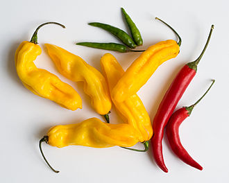 Chili pepper - Green bird's eye, yellow madame Jeanette, and red cayenne peppers
