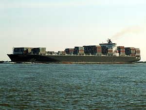 Maersk Kyrenia p1, leaving Port of Rotterdam, Holland 12-Mar-2006.jpg