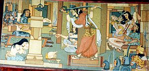 Jabalpur - Rani Durgavati preparing for the battle of Narrai; fresco by Beohar Rammanohar Sinha in Jabalpur's Shaheed-Smarak