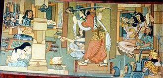 Rani Durgavati preparing for the battle of Narrai; fresco by Beohar Rammanohar Sinha in Jabalpur's Shaheed-Smarak Maharani Durgavati.jpg