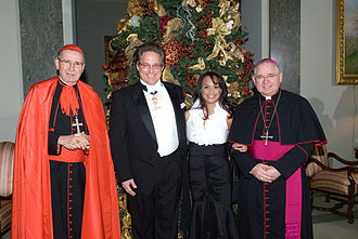 Mark Anchor Albert - Mark and Ana Albert with Roger Cardinal Mahony (left) and Archbishop Jose Gomez