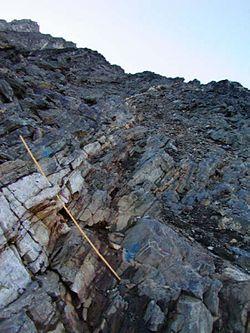 Main Vein (hydrothermal quartz-gold vein), outcrop exposure at Nalunaq Gold Mine.jpg