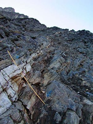 Geology of Greenland - Main Vein (a quartz-gold vein), outcrop exposure at Nalunaq Gold Mine, southern Greenland