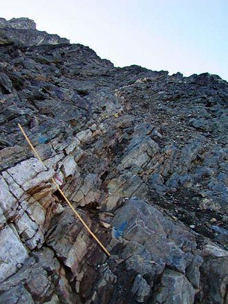 Geology of Greenland - Main Vein (a quartz-gold vein), outcrop exposure at Nalunaq Gold Mine, southern Greenland