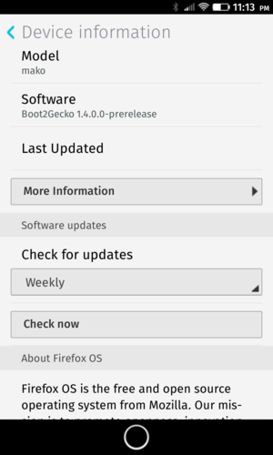 Firefox OS - Mozilla's Firefox OS, version Boot2Gecko-prerelease on Nexus 4 (LG E960) (Code name: mako)