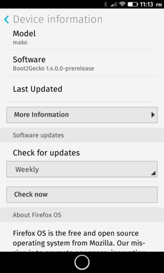 Firefox OS - Mozilla's Firefox OS, version Boot2Gecko-prerelease on Nexus 4 (LG E960) (Code name: mako)