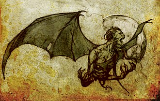 Philippine mythical creatures - An illustrated depiction of a Manananggal.