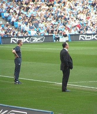 Stuart Pearce - Stuart Pearce managing Manchester City against Rafael Benítez's Liverpool in 2007.