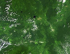 Lake Barombi Mbo - Satellite photo from NASA. Barombi Mbo is the largest circular lake, just above center.