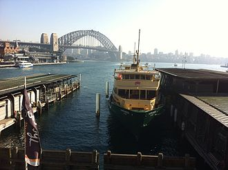 Manly ferry services - A Manly ferry at Circular Quay, Sydney Harbour.