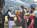 Manmohan Singh being received by the Governor of Punjab, Shri Shivraj V. Patil and the Chief Minister of Punjab, Shri Prakash Singh Badal on his arrival at Ludhiana Agriculture University Helipad on December 08, 2012.jpg