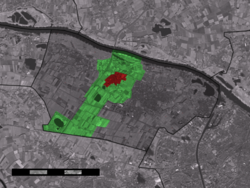 The village centre (red) and the statistical district (light green) of Ewijk in the municipality of Beuningen.