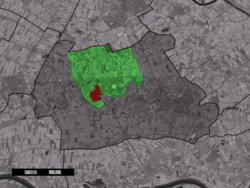 The town centre (red) and the statistical district (light green) of Beesd in the municipality of Geldermalsen.