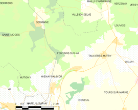 Mapa obce Fontaine-sur-Ay