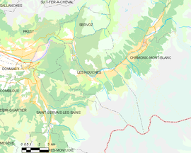 Mapa obce Les Houches