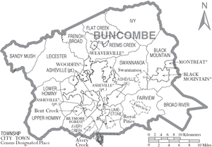 Buncombe County, North Carolina - Map of Buncombe County, North Carolina With Municipal and Township Labels