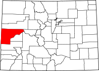 Map of Colorado highlighting Mesa County