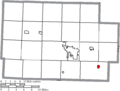 Map of Coshocton County Ohio Highlighting Plainfield Village.png