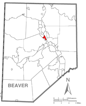 Map of Fallston, Beaver County, Pennsylvania Highlighted.png