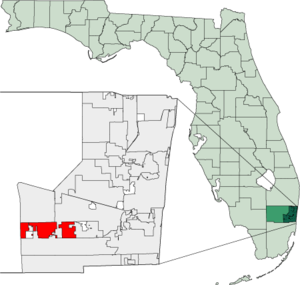 Map of Florida highlighting Southwest Ranches.png