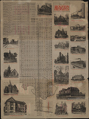 Houston Heights - Map of Houston Heights, circa 1890