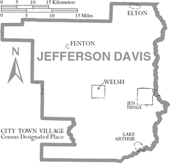 Map of Jefferson Davis Parish Louisiana With Municipal Labels.PNG