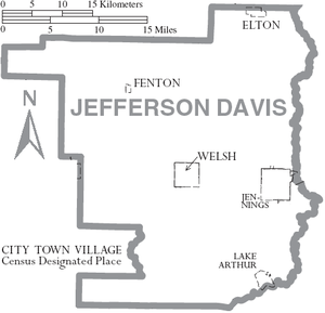 Jefferson Davis Parish, Louisiana - Map of Jefferson Davis Parish, with municipal labels