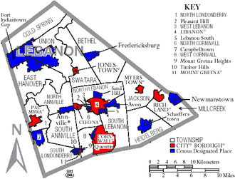 Lebanon County, Pennsylvania - Map of Lebanon County, Pennsylvania with Municipal Labels showing Cities and Boroughs (red), Townships (white), and Census-designated places (blue).