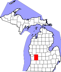 Map of Michigan highlighting Kent County