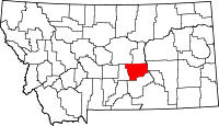 Map of Montana highlighting Musselshell County