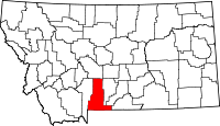 Map of Montana highlighting Park County